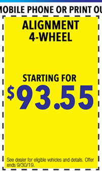 See dealer for eligible vehicles and details. Offer ends 9/i/30/19.