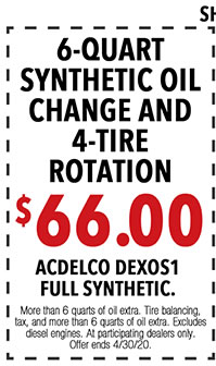 Show coupons on your mobile phone or print out. More than 6 quarts of oil extra. *Tire balancing, tax, and more than 6 quarts of oil extra. Excludes diesel. See dealer for eligible vehicles and details. Offer ends 4/i/30/20.