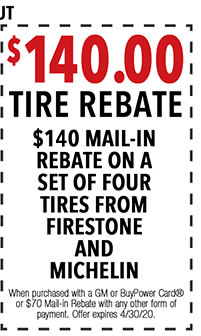 When purchased with a GM or BuyPower Card® or $70 Mail-in Rebate with any other form of payment. Offer expires 4/i/30/20.