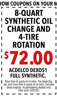 Show coupons on your mobile phone or print out. More than 8 quarts of oil extra. *Tire balancing, tax, and more than 8 quarts of oil extra. Excludes diesel. See dealer for eligible vehicles and details. Offer ends 4/i/30/20.