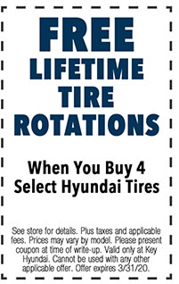 See store for details. Plus taxes and applicable fees. Prices may vary by model. Please present coupon at time of write-up. Valid only at Key Hyundai. Cannot be used with any other applicable offer. Offer expires 3/i/31/20.