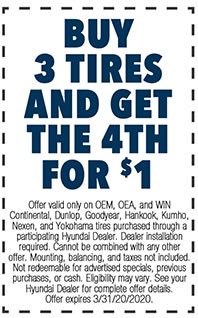 Offer valid only on OEM, OEA, and WIN Continental, Dunlop, Goodyear, Hankook, Kumho, Nexen, and Yokohama tires purchased through a participating Hyundai Dealer. Dealer installation required. Cannot be combined with any other offer. Mounting, balancing, and taxes not included. Not redeemable for advertised specials, previous purchases, or cash. Eligibility may vary. See your Hyundai Dealer for complete offer details. Offer expires 3/i/31/20.