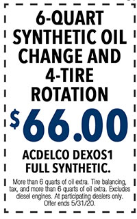 More than 6 quarts of oil extra. Tire balancing, tax, and more than 6 quarts of oil extra. Excludes diesel engines. At participating dealers only. Offer ends 5/i/31/20.