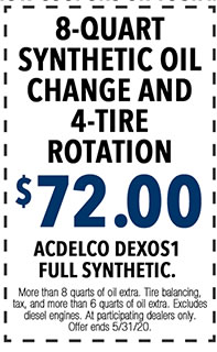 More than 8 quarts of oil extra. Tire balancing, tax, and more than 6 quarts of oil extra. Excludes diesel engines. At participating dealers only. Offer ends 5/i/31/20.