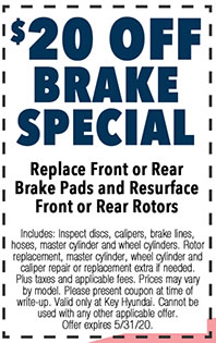 Includes: Inspect discs, calipers, brake lines, hoses, master cylinder and wheel cylinders. Rotor replacement, master cylinder, wheel cylinder and caliper repair or replacement extra if needed. Plus taxes and applicable fees. Prices may vary by model. Please present coupon at time of write-up. Valid only at Key Hyundai. Cannot be used with any other applicable offer. Offer expires 5/i/31/20.