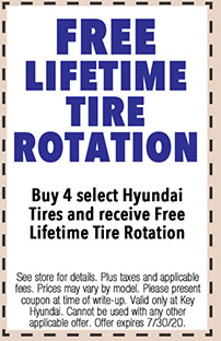 See store for details. Plus taxes and applicable fees. Prices may vary by model. Please present coupon at time of write-up. Valid only at Key Hyundai. Cannot be used with any other applicable offer. Offer expires 7/i/30/20.