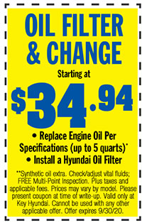 **Synthetic oil extra. Check/adjust vital fluids; FREE Multi-Point Inspection. Plus taxes and applicable fees. Prices may vary by model. Please present coupon at time of write-up. Valid only at Key Hyundai. Cannot be used with any other applicable offer. Offer expires 9/30/20.