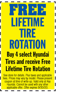 See store for details. Plus taxes and applicable fees. Prices may vary by model.  Please present coupon at time of write-up. Valid only at Key Hyundai. Cannot be used with any other applicable offer. Offer expires 9/30/20.