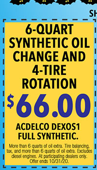 More than 6 quarts of oil extra. Tire balancing, tax, and more than 6 quarts of oil extra. Excludes diesel engines. At participating dealers only. Offer ends 10/31/20.