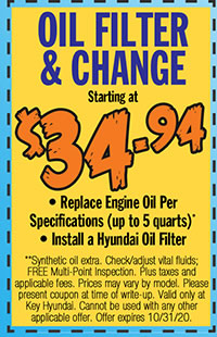 **Synthetic oil extra. Check/adjust vital fluids; FREE Multi-Point Inspection. Plus taxes and applicable fees. Prices may vary by model. Please present coupon at time of write-up. Valid only at Key Hyundai. Cannot be used with any other applicable offer. Offer expires 10/31/20.