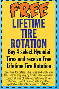 See store for details. Plus taxes and applicable fees. Prices may vary by model. Please present coupon at time of write-up. Valid only at Key Hyundai. Cannot be used with any other applicable offer. Offer expires 10/31/20.
