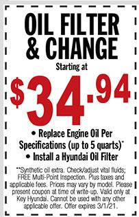 Oil Change & Filter