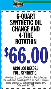 More than 6 quarts of oil extra. Tore balancing, tax, and more than 6 quarts of oil extra. Excludes diesel engines. At participating dealers only. Offer ends 6/1/21.