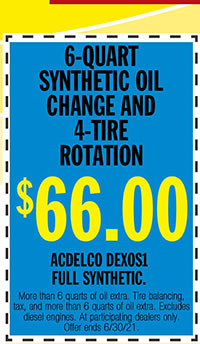 More than 6 quarts of oil extra. Tire balancing, tax, and more than 6 quarts of oil extra. Excludes diesel engines. At participating dealers only. Offer ends 6/30/21.