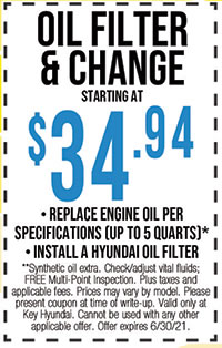 **Synthetic oil extra. Check/adjust vital fluids; FREE Multi-Point Inspection. Plus taxes and applicable fees. Prices may vary by model. Please present coupon at time of write-up. Valid only at Key Hyundai. Cannot be used with any other applicable offer. Offer expires 6/30/21.
