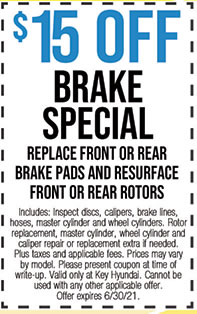 Includes: Inspect discs, calipers, brake lines, hoses, master cylinder and wheel cylinders. Rotor replacement, master cylinder, wheel cylinder and caliper repair or replacement extra if needed. Plus taxes and applicable fees. Prices may vary by model. Please present coupon at time of write-up. Valid only at Key Hyundai. Cannot be used with any other applicable offer. Offer expires 6/30/21.