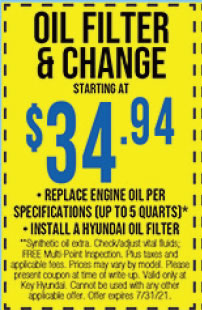 **Synthetic oil extra. Check/adjust vital fluids; FREE Multi-Point Inspection. Plus taxes and applicable fees. Prices may vary by model. Please present coupon at time of write-up. Valid only at Key Hyundai. Cannot be used with any other applicable offer. Offer expires 7/31/21.