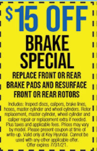 Includes: Inspect discs, calipers, brake lines, hoses, master cylinder and wheel cylinders. Rotor replacement, master cylinder, wheel cylinder and caliper repair or replacement extra if needed. Plus taxes and applicable fees. Prices may vary by model. Please present coupon at time of write-up. Valid only at Key Hyundai. Cannot be used with any other applicable offer. Offer expires 7/31/21.