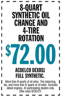 More than 8 quarts of oil extra. Tire balancing, tax, and more than 6 quarts of oil extra. Excludes diesel engines. At participating dealers only. Offer ends 9/30/21.